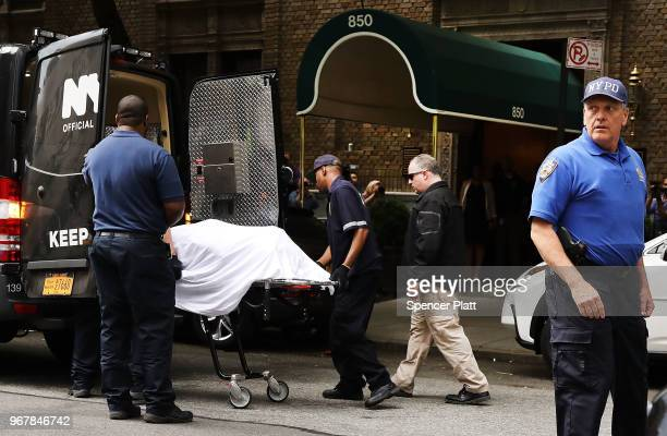 The body of fashion designer Kate Spade who was found dead in her apartment of an apparent suicide is brought out of her apartment building on June 5...