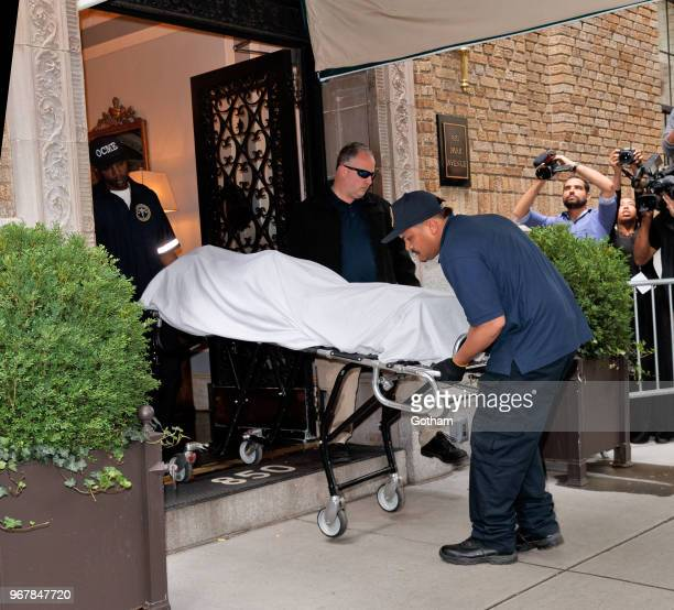 The body of fashion designer Kate Spade who was found dead in her apartment of an apparent suicide is removed from her Manhattan apartment on June 5...