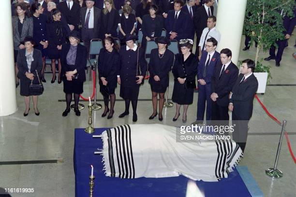 The body of former British press magnat Robert Maxwell is carried after his funeral serice for burial on the Mount of Olives on November 10 1991...
