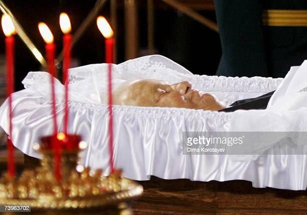 The body of former Russian President Boris Yeltsin lies in state in the Christ the Saviour Cathedral April 24 2007 in Moscow Russian Federation...