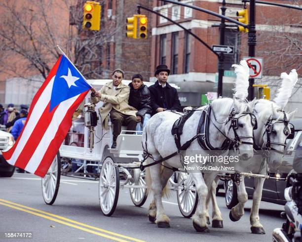 The body of Hector Camacho arrives in a horsedrawn carriage for his wake at St Cecilia's Church Macho Camacho a former super featherweight...