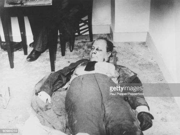 The body of Italian politician activist and journalist Carlo Rosselli lies on the floor of a room at police headquarters after his assassination by...