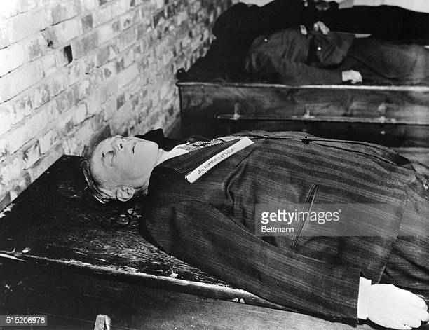 The body of Joachim Von Ribbentrop champagne salesman who became Hitler's foreign minister is shown here after removed from the gallows where he was...