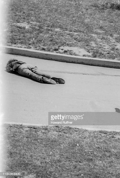 The body of Kent State University student Jeffrey Miller lies where he was shot during an antiwar demonstration on the university campus Kent Ohio...