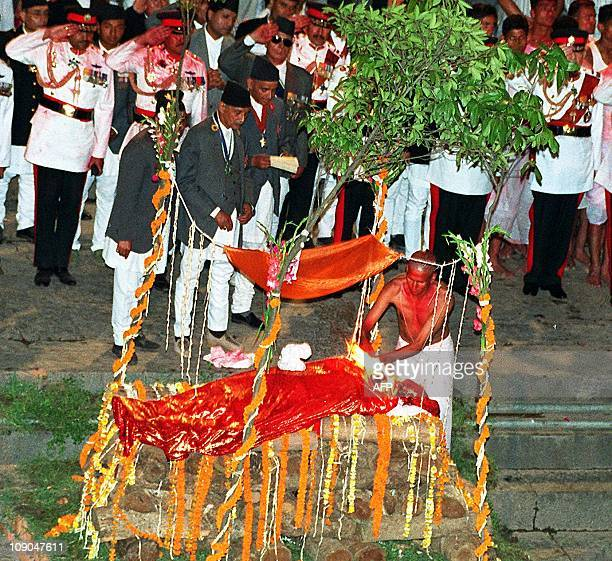 The body of King Birendra is cremated on the banks of the river Bagmati at Pashupati in Kathmandu 02 June 2001 Nepal's Crown Prince Dipendra shot...