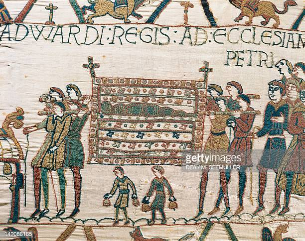 The body of King Edward is carried into Saint Peter's Church detail of Queen Mathilda's Tapestry or Bayeux Tapestry depicting Norman conquest of...