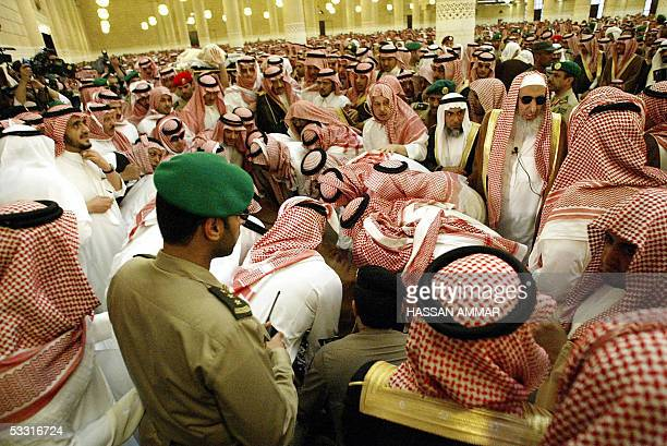 The body of King Fahd of Saudi Arabia is carried out of the Imam Turki bin Abdullah mosque in Riyadh 02 August 2005 Fahd died yesterday after 23...