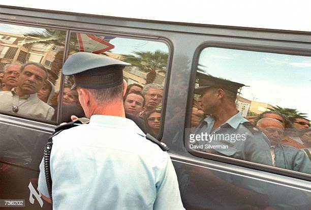 The body of Leah Rabin is transported in a hearse to a gravesite in Jerusalem after a funeral service November 15, 2000 in Tel Aviv, Israel. Leah...