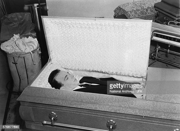 The body of Lee Harvey Oswald lies in a casket at Parkland Morgue in Dallas Texas