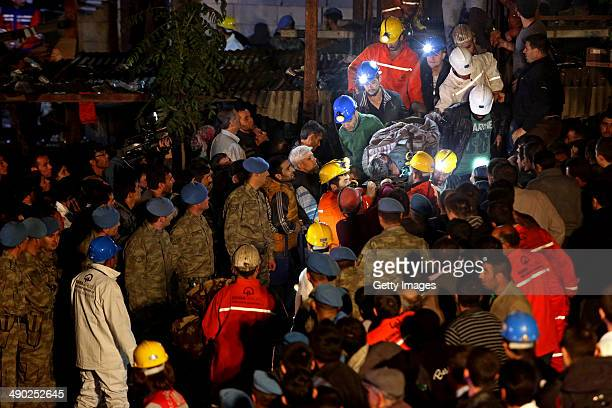 The body of miner is carried to an ambulance on May 14, 2014 in Soma, Turkey. An explosion and fire in the coal mine killed at least 201 miners and...