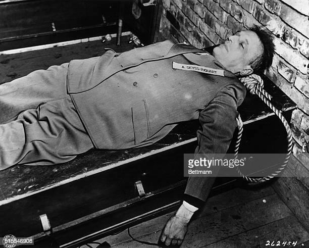 The body of Nazi war criminal Arthur SeyssInquart gauleiter of the Netherlands convicted by the War Crimes Tribunal at Nuernberg Germany and hanged...