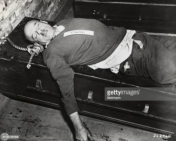 The body of Nazi war criminal Fritz Saukel, Nazi labor boss, convicted by the War Crimes Tribunal at Nuernberg, Germany, and hanged October 16, 1946.