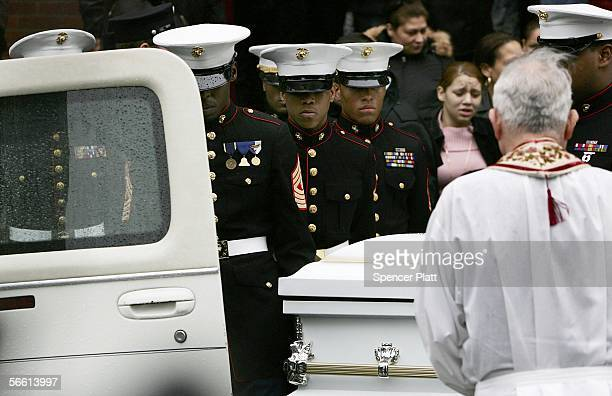 The body of Nixzmary Brown is placed into a hearse after her funeral January 18 2006 in New York City Brown was found beaten to death last week in a...
