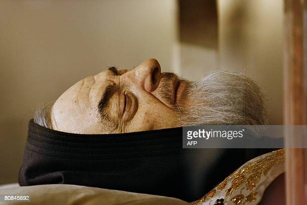 The body of Padre Pio is on display for the veneration of the faithful in a partglass coffin in the crypt of the old Church of St Mary of Grace at...