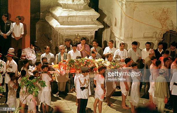 The body of Queen Aishwarya of Nepal is carried to her funeral pyre June 2 2001 at the Pashupati Nath Arya Ghat complex in Kathmandu Nepal Several...