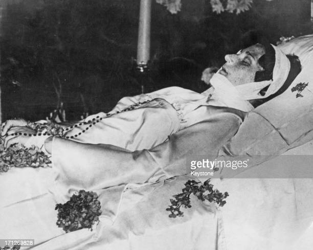 The body of Queen Astrid of Belgium lying in state at the Thinker's Hall Royal Castle of Laeken Brussels 1935
