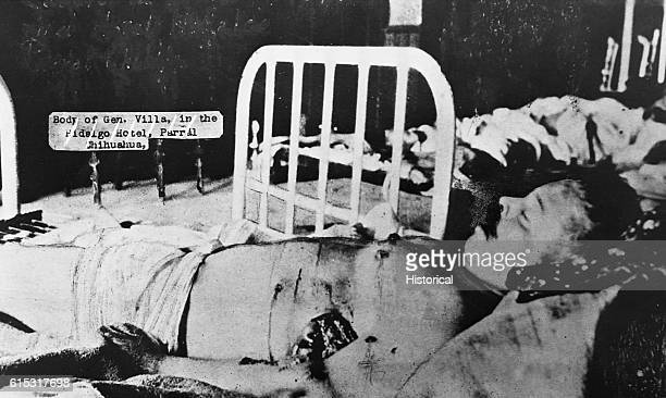 The body of revolutionary general Pancho Villa, laid out at the Fidalgo Hotel in Parral, Mexico after his assassination. Villa was shot by assassins...