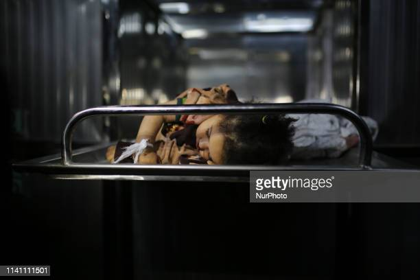 The body of Sabaa Arar a Palestinian baby lies at the morgue of alShifa hospita in Gaza City on May 4 2019 The baby was killed by an Israeli strike...