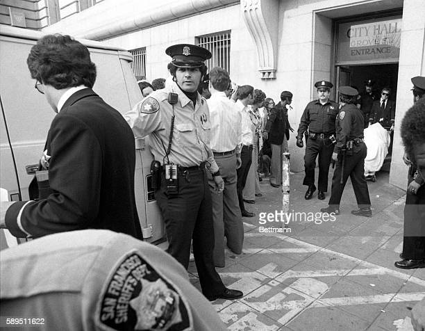 The body of San Francisco supervisor Harvey Milk is taken from city hall where he and San Francisco mayor George Moscone were shot and killed 11/27 A...
