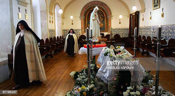 The body of Sister Lucia Marto the last of three children who claimed to have seen the Virgin Mary in 1917 in Fatima central Portugal lies in a...