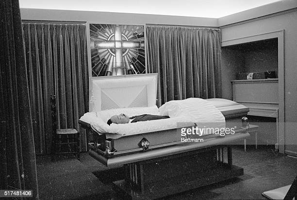 The body of slain Negro leader Dr. Martin Luther King lies in state at a local funeral home here on April 5th. The slain civil rights leader was...