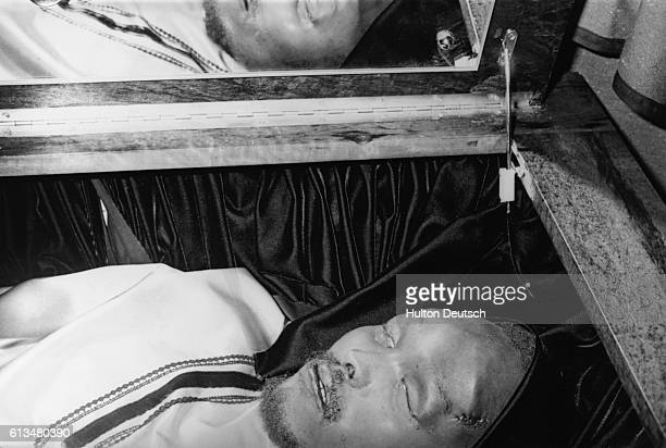 The body of Steve Biko the South African political leader and campaigner for black rights lies in a coffin He died brutally in police custody