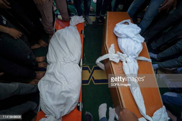 The body of the martyred girl seen during the funeral of Maria alGazali a fourmonthold Palestinian baby who was martyred in an Israeli raid that hit...