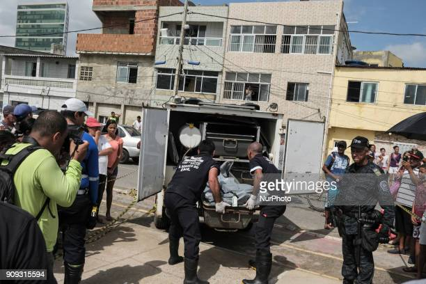 The body of the pilot Daniel Galvão who was rescued without life by the residents is taken to the Instituto Médico Legal in Recife Northeast Brazil...