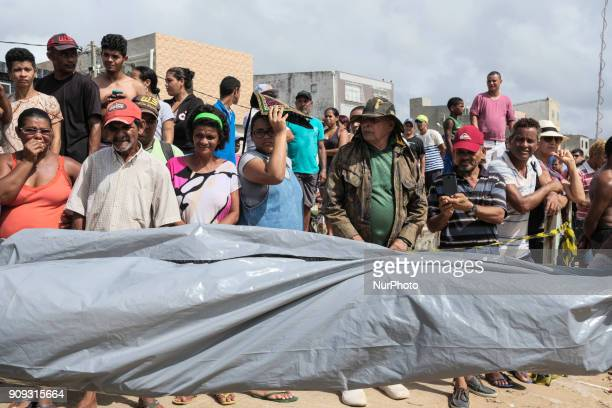 The body of the pilot Daniel Galvão who was rescued without life by the residents is taken to the Medical Legal Institute in Recife Northeast Brazil...