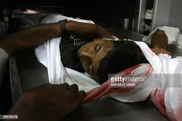 The body of Yahya Ramadan Ghazal one of two boys killed by Israeli military fire is seen in the morgue of the Kamal Radwan hospital in the northern...
