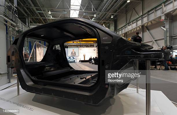 The body shell of a Bayerische Motoren Werke AG BMW i3 concept car sits on display at the company's automobile plant in Landshut Germany on Friday...