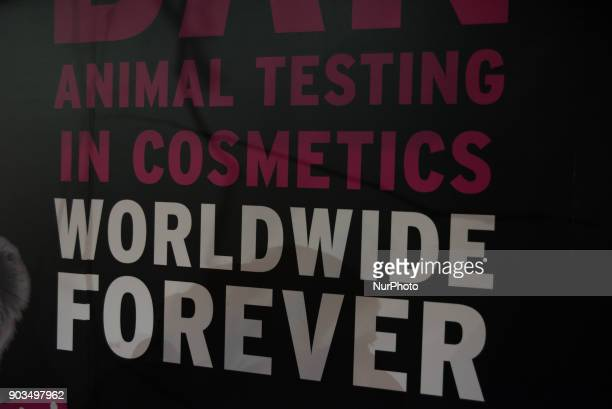 The Body Shop in Brixton is decorated with huge advertising to fight against animal testing London on January 10 2018