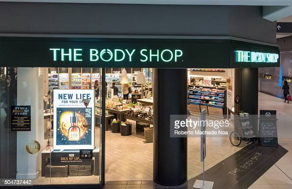 The Body Shop store front view in mall  People Shopping at