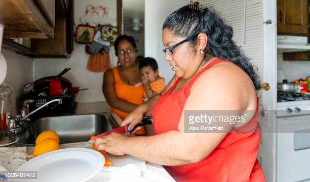 the body-positive beautiful mexican-american woman making fruit salad in the domestic kitchen - alex potemkin or krakozawr latino fitness stock photos and pictures