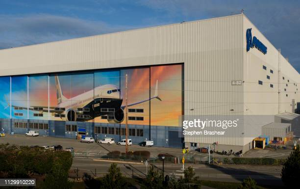 The Boeing 737 factory is pictured with a 737 on the doors on March 11 2019 in Renton Washington Boeing's stock dropped today after an Ethiopian...