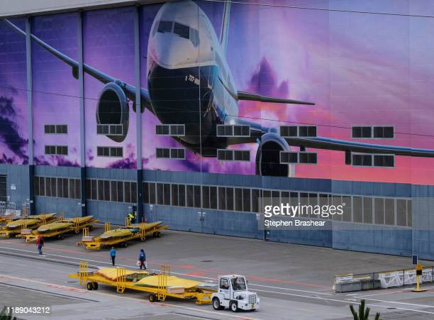 The Boeing 737 factory is seen on December 16 2019 in Renton Washington The company announced it is suspending production of the plane which has been...