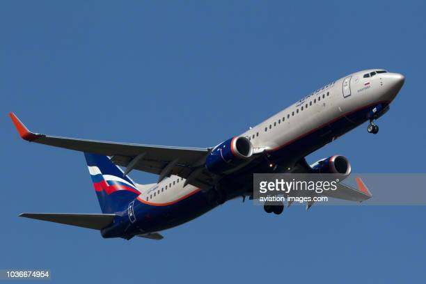 The Boeing 737800 of Aeroflot Russian Airlines approaches Sheremetyevo airport Moscow Region Russia
