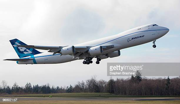 The Boeing 7478 freighter makes its first test flight February 8 2009 at Paine Field in Everett Washington The 7478 is the largest jumbo jet Boeing...