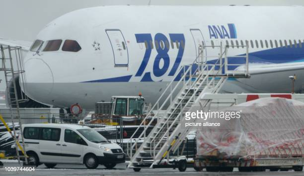 The Boeing 787 'Dreamliner' of the Japanese airline All Nippon Airways is parked at the airport in Frankfurt Main Germany 17 January 2013 The...