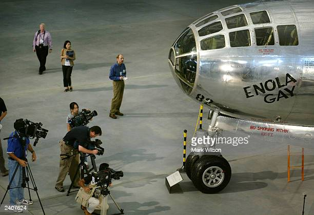 The Boeing B-29 Superfortress bomber, the Enola Gay, sits restored and reasembled in the new Smithsonian Air and Space Museum's Udvar-Hazy Center,...