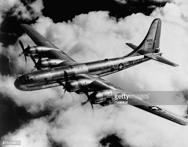 The Boeing B50A Superfortress the postWWII version of the B29 during a flight