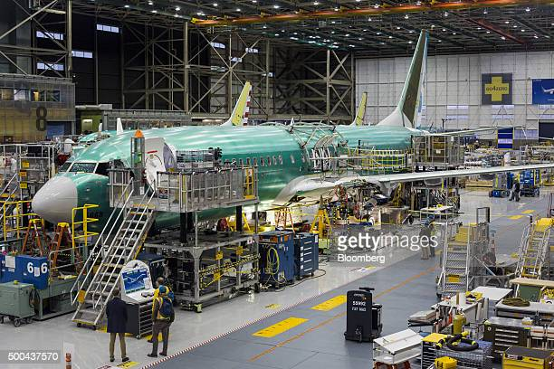 The Boeing Co 737 MAX airplane stands on the production line at the company's manufacturing facility in Renton Washington US on Monday Dec 7 2015...