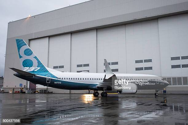 The Boeing Co 737 MAX airplane stands outside the company's manufacturing facility in Renton Washington US on Tuesday Dec 8 2015 Boeing Co's latest...