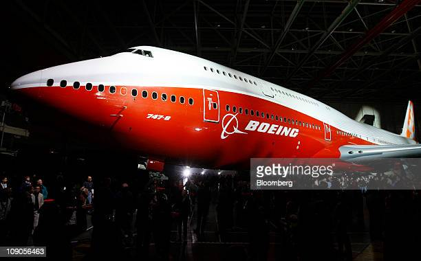 The Boeing Co 7478 Intercontinental jumbo jet is rolled out at the company's manufacturing facility in Everett Washington US on Sunday Feb 13 2011...