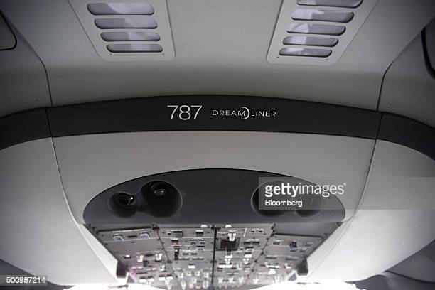 The Boeing Co 787 Dreamliner logo is displayed in the cabin of a Grupo Aeromexico SAB jet at the Benito Juarez International Airport in Mexico City...
