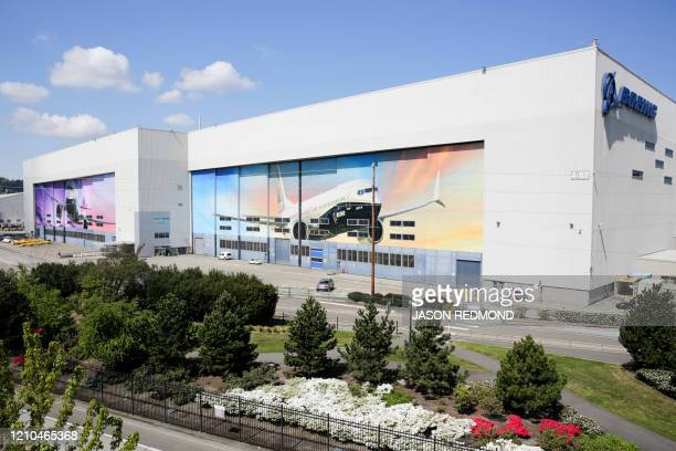 The Boeing Renton Factory where the Boeing 737 MAX airliners are built is pictured in Renton Washginton on April 20 2020 Boeing announced it will...