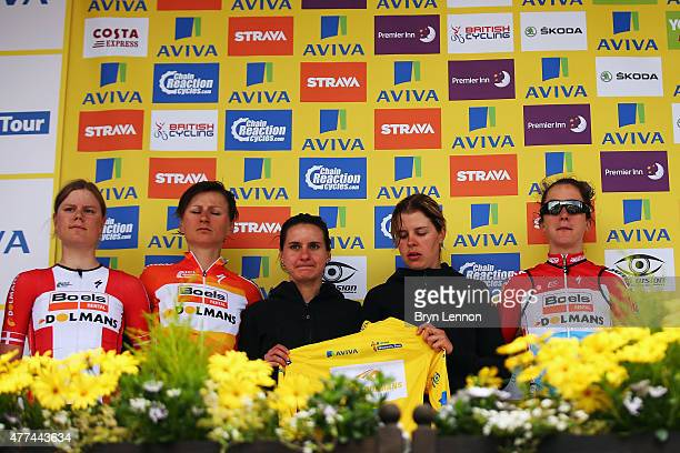 The Boels Dolmans Cycling Team of Elizabeth Armitstead accept the race leader's jersey on her behalf after stage one of the Aviva Women's Tour of...