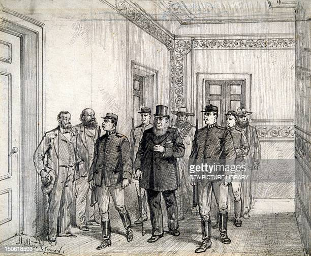 The Boer President Kruger leaving the Chamber of Deputies in Pretoria by Melton Prior engraving South Africa 19th century