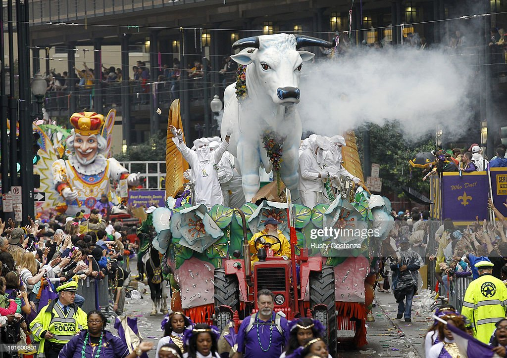 The Boeuf Gras float in the Rex parade rolls down St. Charles Avenue in New Orleans on Mardi Gras Day. Fat Tuesday, the traditional celebration on the day before Ash Wednesday and the begining of Lent, is marked in New Orleans with parades and marches through many neighborhoods in the city.
