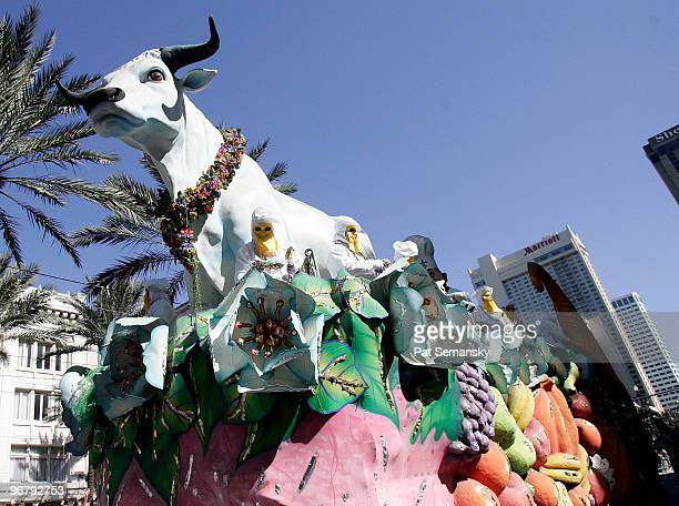The Boeuf Gras float rolls down Canal Street during the Rex parade on Mardi Gras day on February 16 2010 in New Orleans Louisiana The annual Mardi...